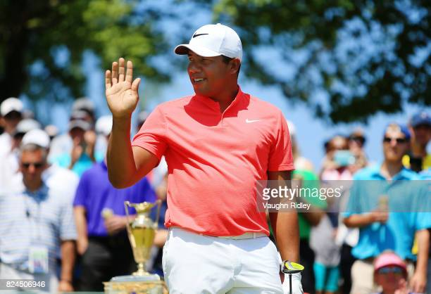 Jhonattan Vegas of Venezuela prepares to tee off on the first hole during the final round of the RBC Canadian Open at Glen Abbey Golf Club on July 30...