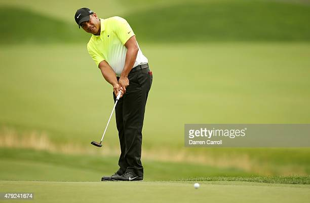 Jhonattan Vegas of Venezuela putts on the 12th hole during the first round of the Greenbrier Classic at the Old White TPC on July 2 2015 in White...