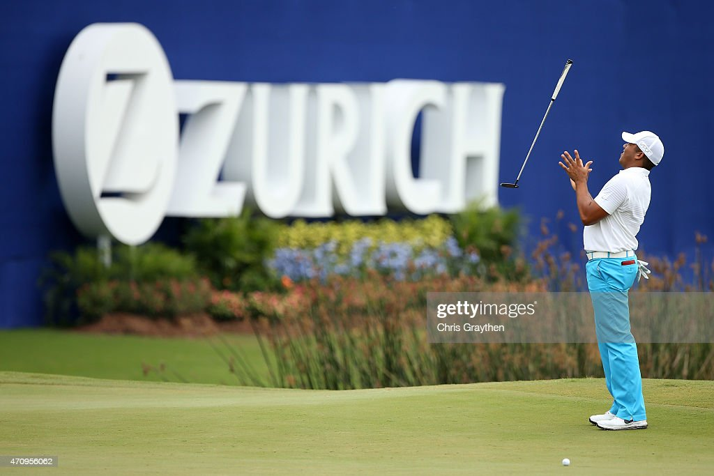 Jhonattan Vegas of Venezuela reacts to a missed putt on the 18th hole during round two of the Zurich Classic of New Orleans at TPC Louisiana on April 24, 2015 in Avondale, Louisiana.