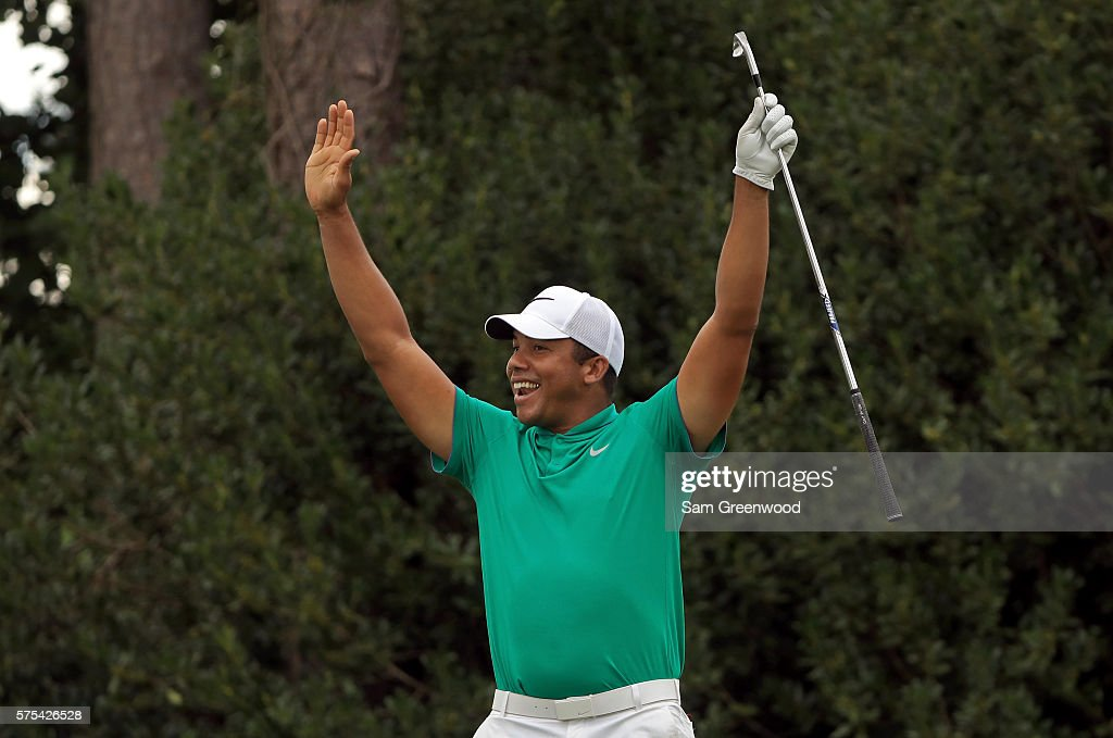 Jhonattan Vegas of Venezuela reacts to his hole-in-one on the seventeenth hole during the second round of the Barbasol Championship at the Robert Trent Jones Golf Trail at Grand National on July 15, 2016 in Auburn, Alabama.