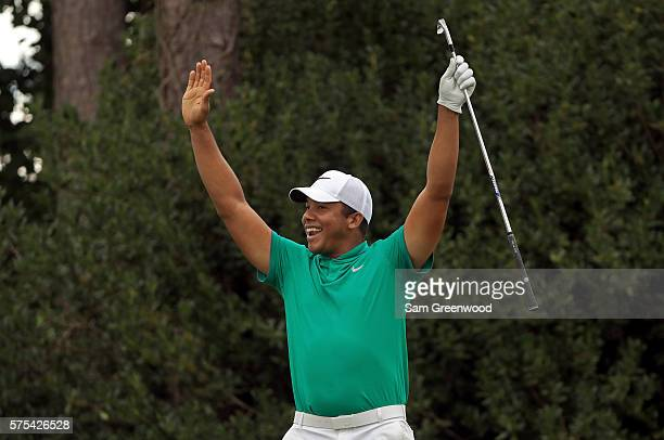 Jhonattan Vegas of Venezuela reacts to his holeinone on the seventeenth hole during the second round of the Barbasol Championship at the Robert Trent...