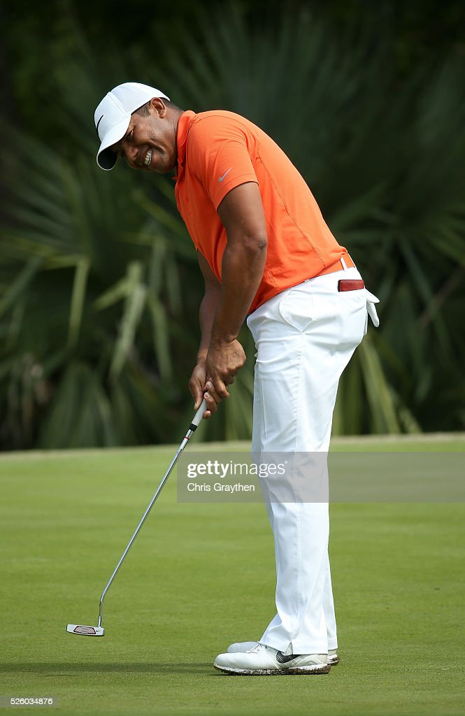 <a gi-track='captionPersonalityLinkClicked' href=/galleries/search?phrase=Jhonattan+Vegas&family=editorial&specificpeople=4466874 ng-click='$event.stopPropagation()'>Jhonattan Vegas</a> of Venezuela reacts to his putt on the 15th hole during a continuation of the first round of the Zurich Classic of New Orleans at TPC Louisiana on April 29, 2016 in Avondale, Louisiana.