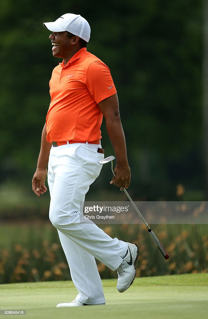 <a gi-track='captionPersonalityLinkClicked' href=/galleries/search?phrase=Jhonattan+Vegas&family=editorial&specificpeople=4466874 ng-click='$event.stopPropagation()'>Jhonattan Vegas</a> of Venezuela reacts to his putt on the 18th hole during a continuation of the first round of the Zurich Classic of New Orleans at TPC Louisiana on April 29, 2016 in Avondale, Louisiana.
