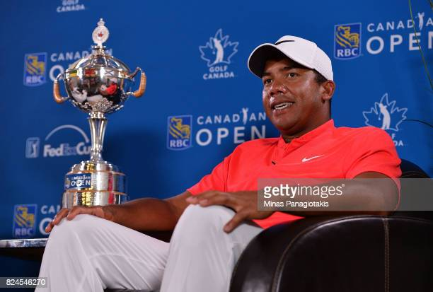 Jhonattan Vegas of Venezuela talks to the media during a press conference during the final round of the RBC Canadian Open at Glen Abbey Golf Club on...