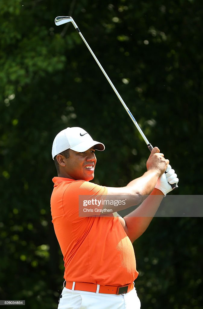 <a gi-track='captionPersonalityLinkClicked' href=/galleries/search?phrase=Jhonattan+Vegas&family=editorial&specificpeople=4466874 ng-click='$event.stopPropagation()'>Jhonattan Vegas</a> of Venezuela tees off on the 16th hole during a continuation of the first round of the Zurich Classic of New Orleans at TPC Louisiana on April 29, 2016 in Avondale, Louisiana.