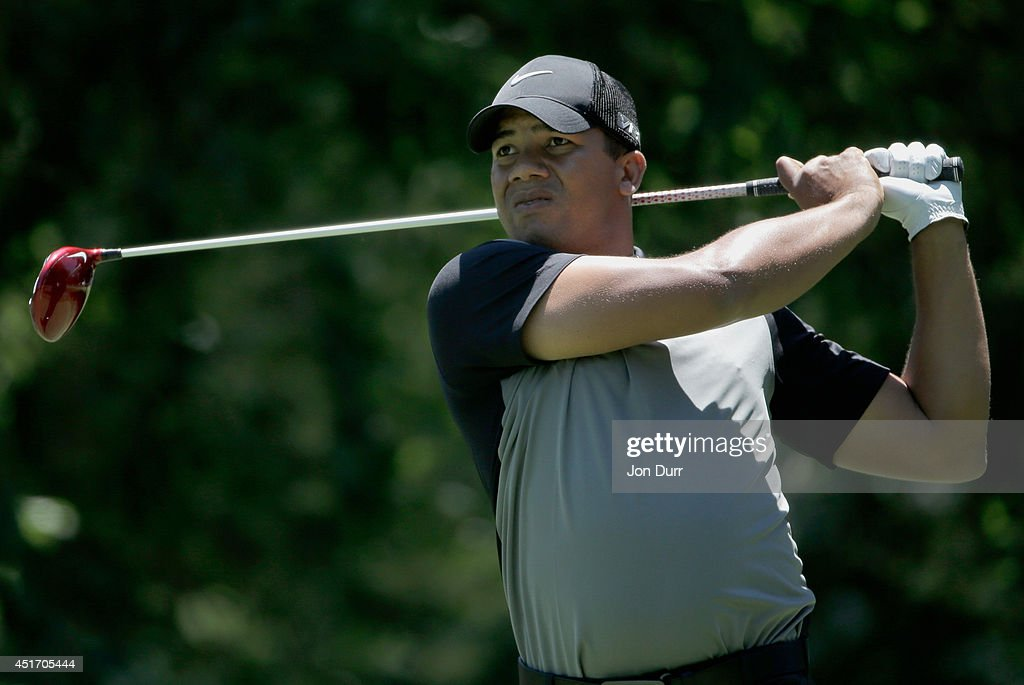 <a gi-track='captionPersonalityLinkClicked' href=/galleries/search?phrase=Jhonattan+Vegas&family=editorial&specificpeople=4466874 ng-click='$event.stopPropagation()'>Jhonattan Vegas</a> of Venezuela tees off on the second hole during the second round of the Greenbrier Classic at the Old White TPC on July 4, 2014 in White Sulphur Springs, West Virginia.
