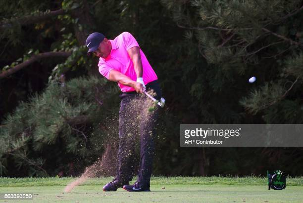 Jhonattan Vegas of Venezuela tees off on the second hole during the second round of the CJ Cup at Nine Bridges in Jeju Island on October 20 2017 /...