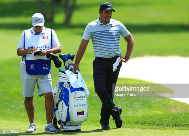 Jhonattan Vegas of Venezuela waits to play his third shot on the second hole during the third round of the RBC Canadian Open at Glen Abbey Golf Club...