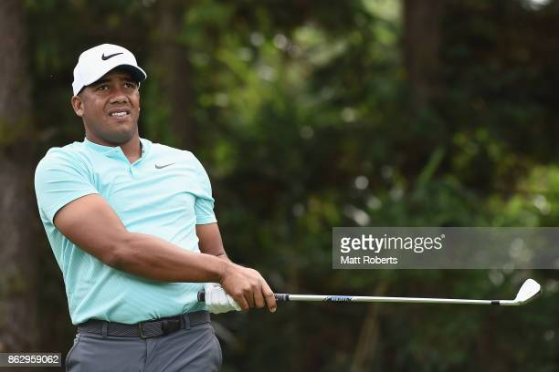 Jhonattan Vegas of Venezuela watches his tee shot on the 7th hole during the first round of the CJ Cup at Nine Bridges on October 19 2017 in Jeju...