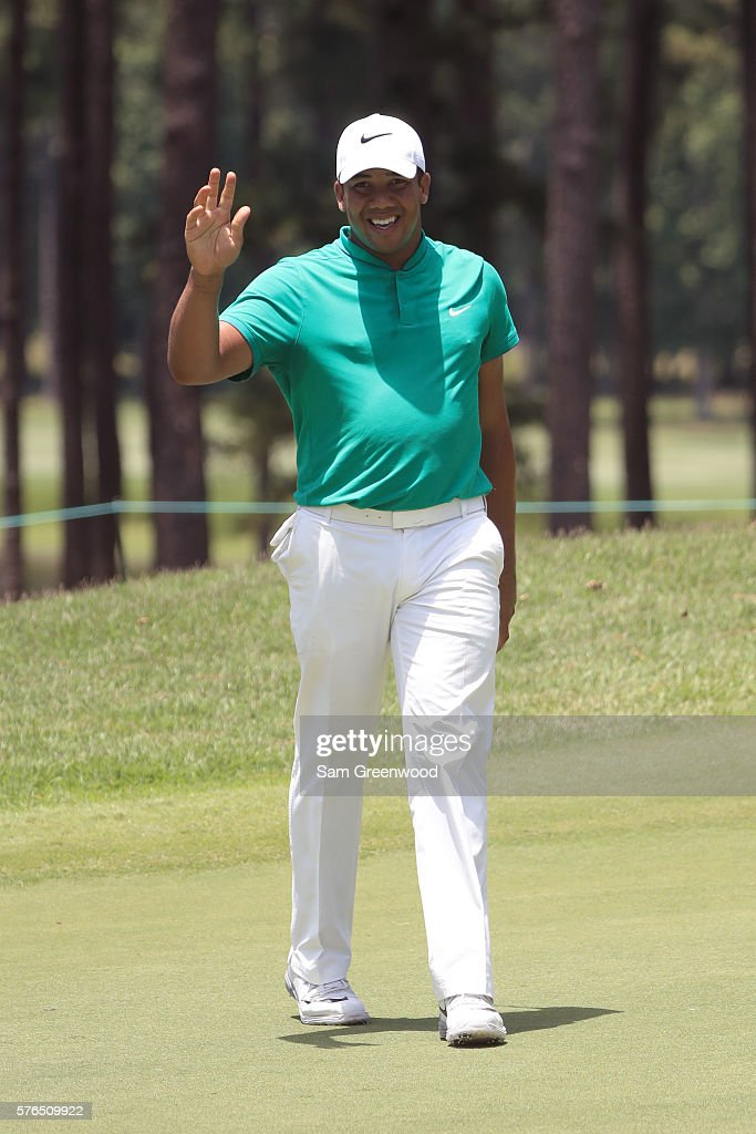 Jhonattan Vegas reacts after his shot off the ninth hole during the second round of the Barbasol Championship at the Robert Trent Jones Golf Trail at...