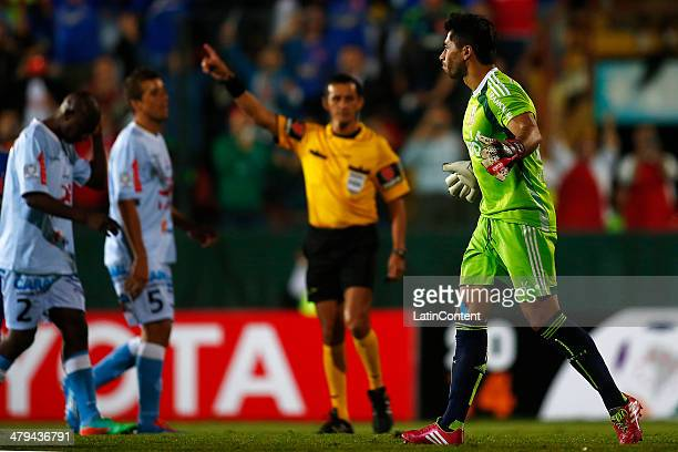 Jhonny Herrera of Universidad de Chile celebrates after scoring through a penalty kick the only goal of the game during a match between Universidad...