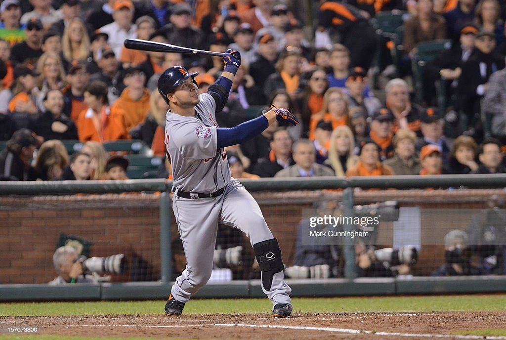 Jhonny Peralta #27 of the Detroit Tigers bats during Game Two of the World Series against the San Francisco Giants at AT&T Park on October 25, 2012 in San Francisco, California. The Giants defeated the Tigers 2-0.