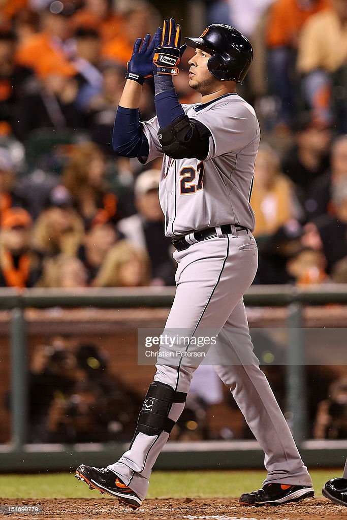 Jhonny Peralta #27 of the Detroit Tigers celebrates after hitting a two-run home run against Jose Mijares #50 of the San Francisco Giants in the ninth inning during Game One of the Major League Baseball World Series at AT&T Park on October 24, 2012 in San Francisco, California.