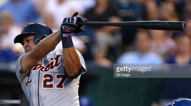 Jhonny Peralta of the Detroit Tigers fouls tips the ball during the fifth inning in a game against the Kansas City Royals at Kauffman Stadium on July...