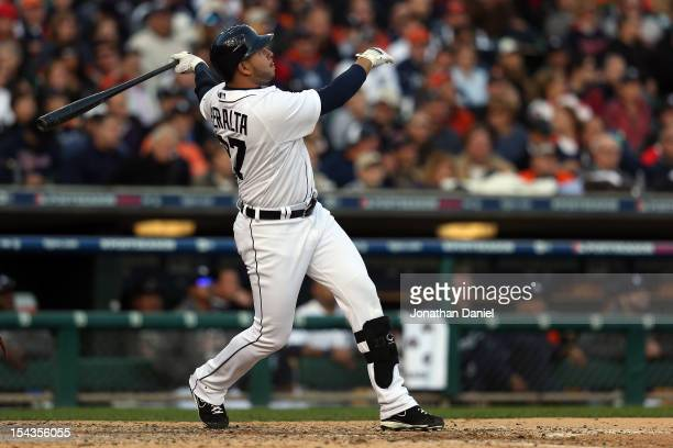 Jhonny Peralta of the Detroit Tigers hits a 2run home run in the bottom of the fourth inning against the New York Yankees during game four of the...