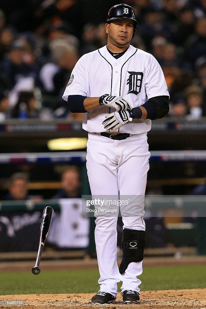 Jhonny Peralta #27 of the Detroit Tigers reacts after being struck out looking against Matt Cain #18 of the San Francisco Giants to end the fourth inning during Game Four of the Major League Baseball World Series at Comerica Park on October 28, 2012 in Detroit, Michigan.