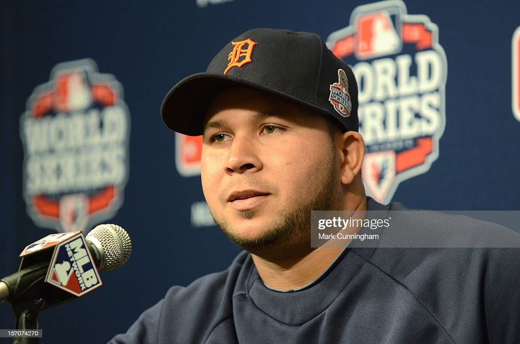 Jhonny Peralta #27 of the Detroit Tigers talks to the media during a press conference prior to Game Two of the World Series against the San Francisco Giants at AT&T Park on October 25, 2012 in San Francisco, California. The Giants defeated the Tigers 2-0.