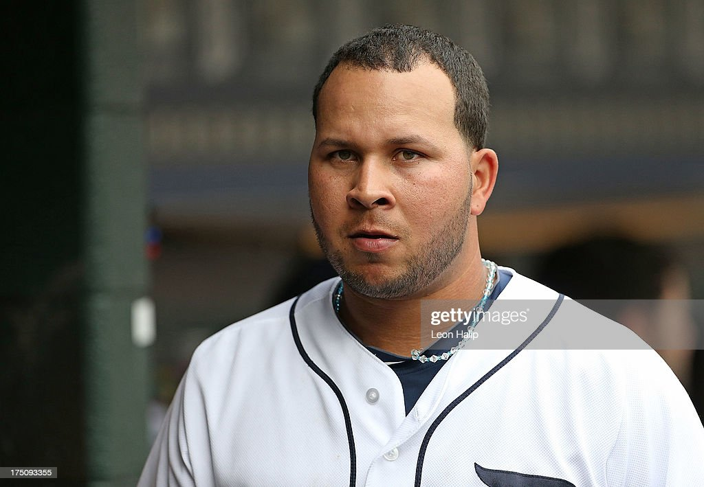 <a gi-track='captionPersonalityLinkClicked' href=/galleries/search?phrase=Jhonny+Peralta&family=editorial&specificpeople=213286 ng-click='$event.stopPropagation()'>Jhonny Peralta</a> #27 of the Detroit Tigers watches the action from the dugout during the game aginst the Washington Nationals at Comerica Park on July 31, 2013 in Detroit, Michigan. The Tigers defeated the Nationals 11-1.