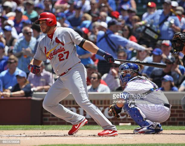 Jhonny Peralta of the St Louis Cardinals bats against the Chicago Cubs at Wrigley Field on June 2 2017 in Chicago Illinois The Cubs defeated the...