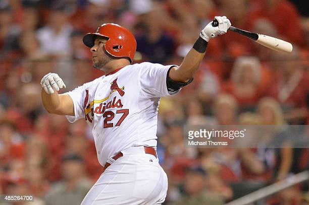 Jhonny Peralta of the St Louis Cardinals bats against the San Francisco Giants at Busch Stadium on August 18 2015 in St Louis Missouri