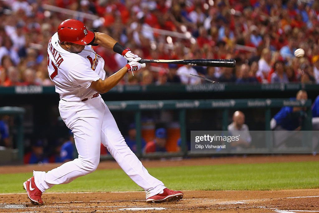 <a gi-track='captionPersonalityLinkClicked' href=/galleries/search?phrase=Jhonny+Peralta&family=editorial&specificpeople=213286 ng-click='$event.stopPropagation()'>Jhonny Peralta</a> #27 of the St. Louis Cardinals hits an RBI single in the first inning against the Chicago Cubs at Busch Stadium on August 29, 2014 in St. Louis, Missouri.