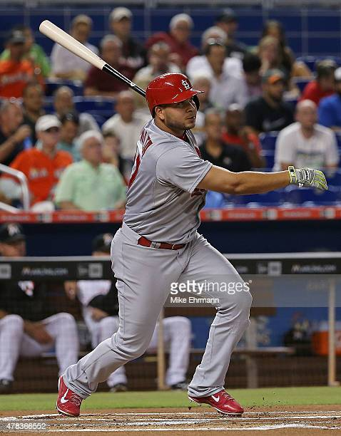 Jhonny Peralta of the St Louis Cardinals hits during a game against the Miami Marlins at Marlins Park on June 24 2015 in Miami Florida