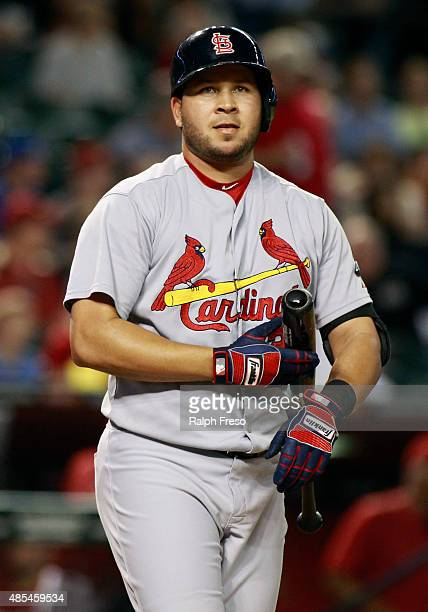 Jhonny Peralta of the St Louis Cardinals steps up to bat against the Arizona Diamondbacks during the eighth inning of a MLB game at Chase Field on...