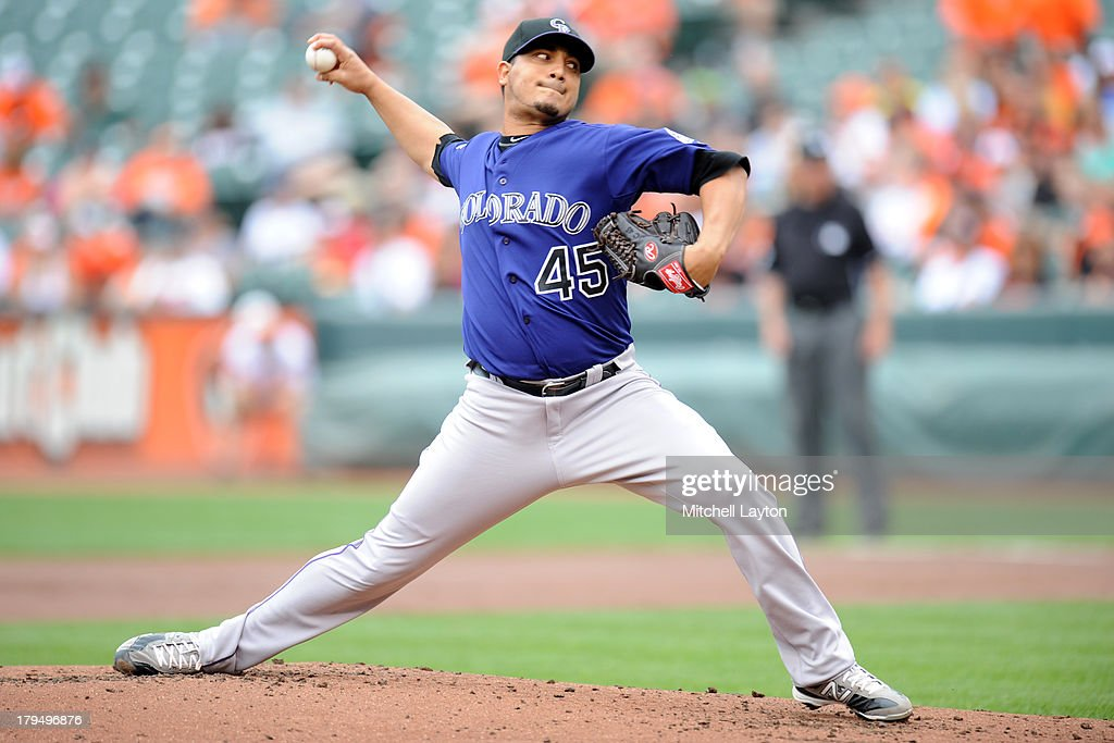 Jhoulyns Chacin #45 of the Colorado Rockies pitches during a baseball game against the Baltimore Orioles on August 18, 2013 at Oriole Park at Camden Yards in Baltimoe, Maryalnd. The Orioles won 7-2.
