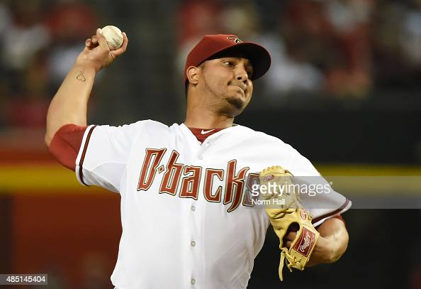 Jhoulys Chacin of the Arizona Diamondbacks delivers a first inning pitch against the St Louis Cardinals at Chase Field on August 24 2015 in Phoenix...