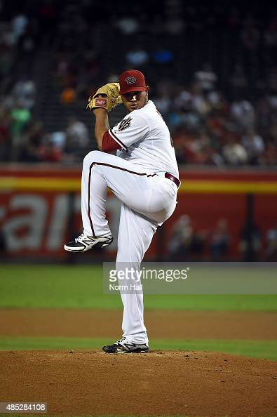 Jhoulys Chacin of the Arizona Diamondbacks delivers a pitch against the St Louis Cardinals at Chase Field on August 24 2015 in Phoenix Arizona