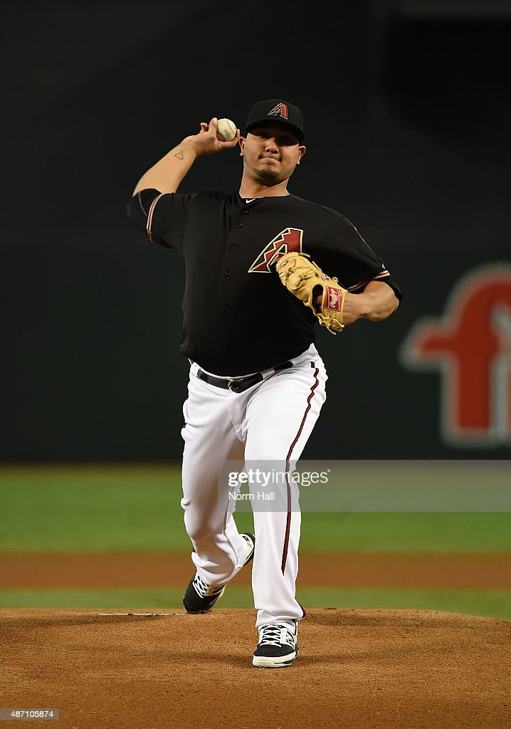 Jhoulys Chacin of the Arizona Diamondbacks delivers a warm up pitch against the Oakland Athletics at Chase Field on August 29 2015 in Phoenix Arizona