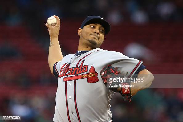 Jhoulys Chacin of the Atlanta Braves delivers in the first inning during the game against the Boston Red Sox at Fenway Park on April 28 2016 in...