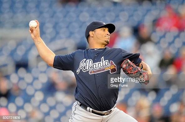 Jhoulys Chacin of the Atlanta Braves pitches in the first inning against the Washington Nationals at Nationals Park on April 12 2016 in Washington DC
