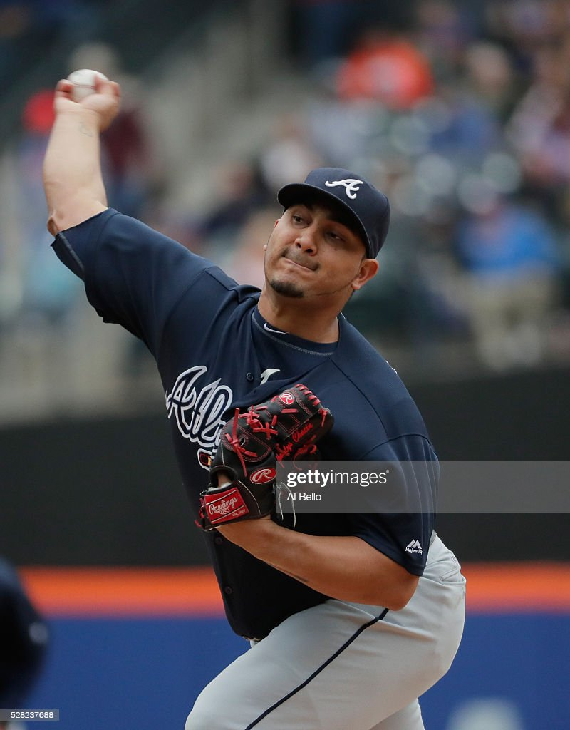Jhoulys Chacin #43 of the Atlanta Braves pitches in the first inning against the New York Mets during their game at Citi Field on May 4, 2016 in New York City.