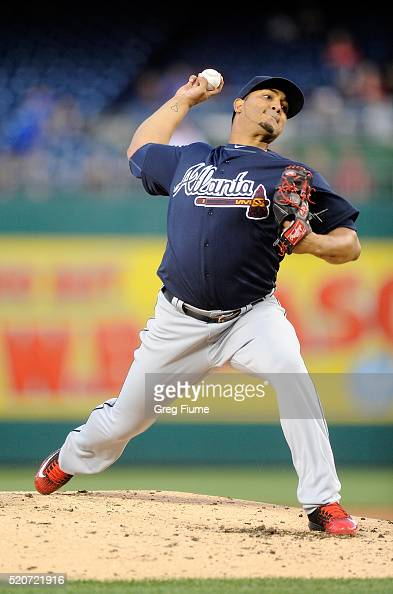 Jhoulys Chacin of the Atlanta Braves pitches in the second inning against the Washington Nationals at Nationals Park on April 12 2016 in Washington DC