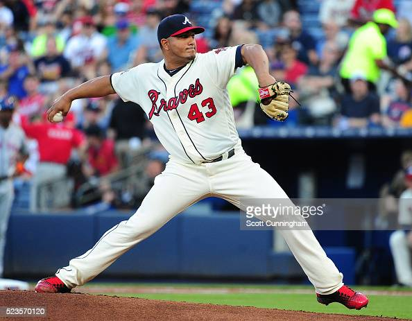Jhoulys Chacin of the Atlanta Braves throws a first inning pitch against the New York Mets at Turner Field on April 23 2016 in Atlanta Georgia
