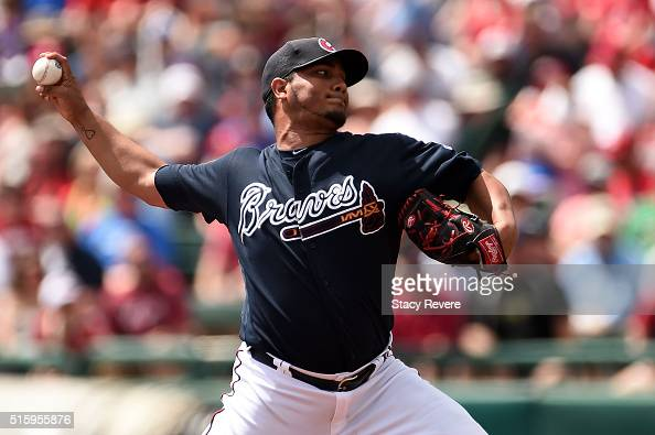 Jhoulys Chacin of the Atlanta Braves throws a pitch during the first inning of a spring training game against the St Louis Cardinals at Champion...