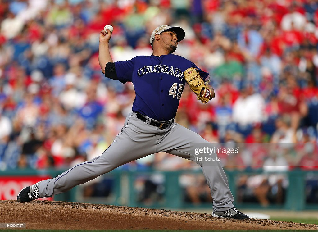 Jhoulys Chacin of the Colorado Rockies delivers a pitch against the Philadelphia Phillies during a game at Citizens Bank Park on May 26 2014 in...