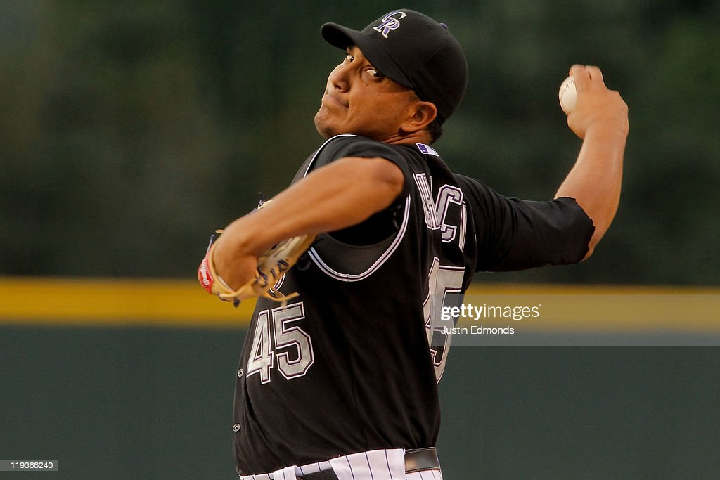 Jhoulys Chacin of the Colorado Rockies delivers to the Milwaukee Brewers at Coors Field on July 16 2011 in Denver Colorado