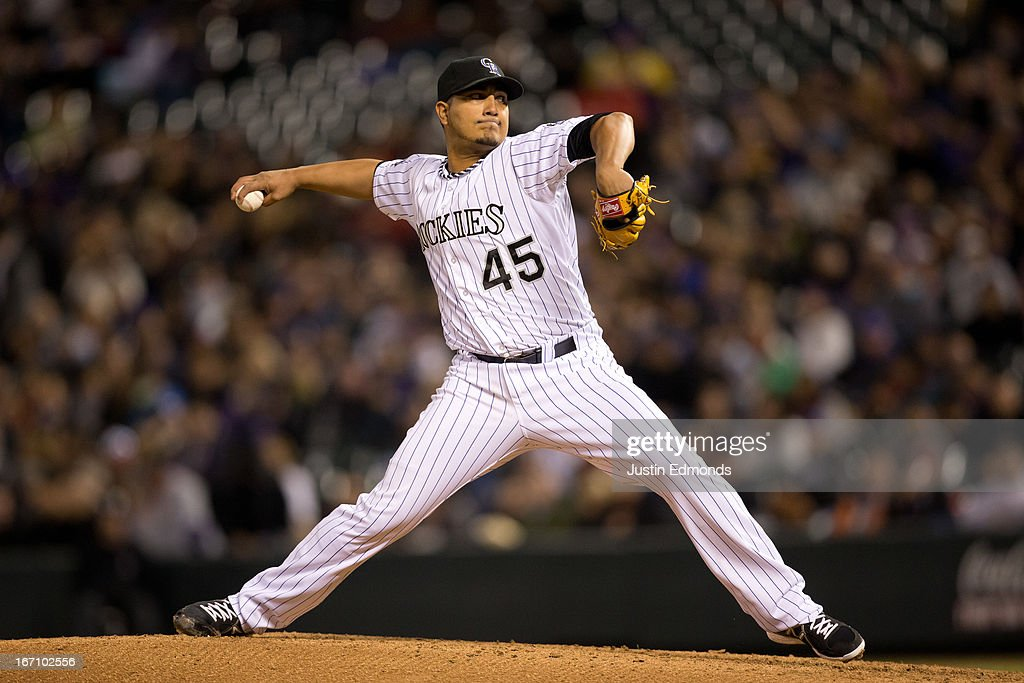<a gi-track='captionPersonalityLinkClicked' href=/galleries/search?phrase=Jhoulys+Chacin&family=editorial&specificpeople=5734320 ng-click='$event.stopPropagation()'>Jhoulys Chacin</a> #45 of the Colorado Rockies pitches against the Arizona Diamondbacks at Coors Field on April 19, 2013 in Denver, Colorado.