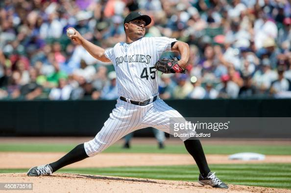 Jhoulys Chacin of the Colorado Rockies pitches against the Atlanta Braves in the fourth inning of a game at Coors Field on June 12 2014 in Denver...
