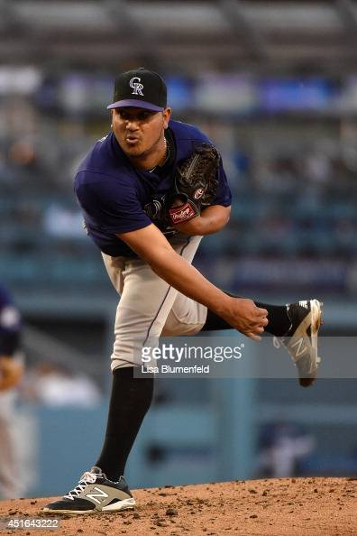 Jhoulys Chacin of the Colorado Rockies pitches against the Los Angeles Dodgers at Dodger Stadium on June 17 2014 in Los Angeles California