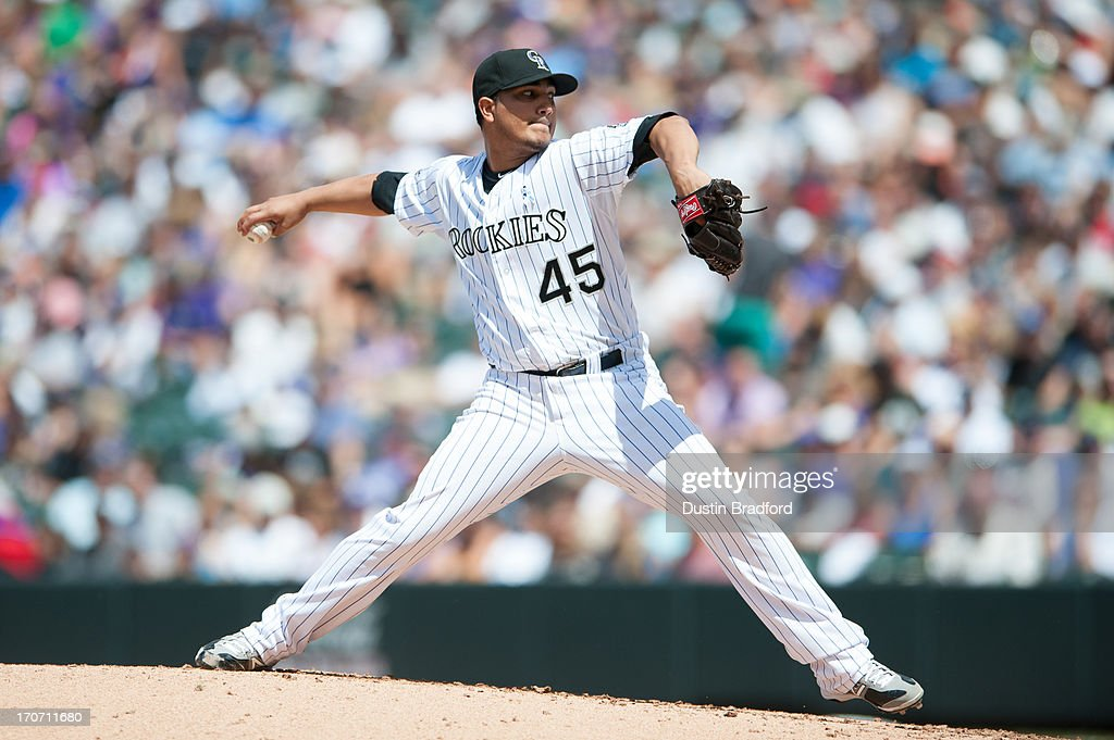<a gi-track='captionPersonalityLinkClicked' href=/galleries/search?phrase=Jhoulys+Chacin&family=editorial&specificpeople=5734320 ng-click='$event.stopPropagation()'>Jhoulys Chacin</a> #45 of the Colorado Rockies pitches against the Philadelphia Phillies at Coors Field on June 16, 2013 in Denver, Colorado. The Rockies beat the Phillies 5-2.
