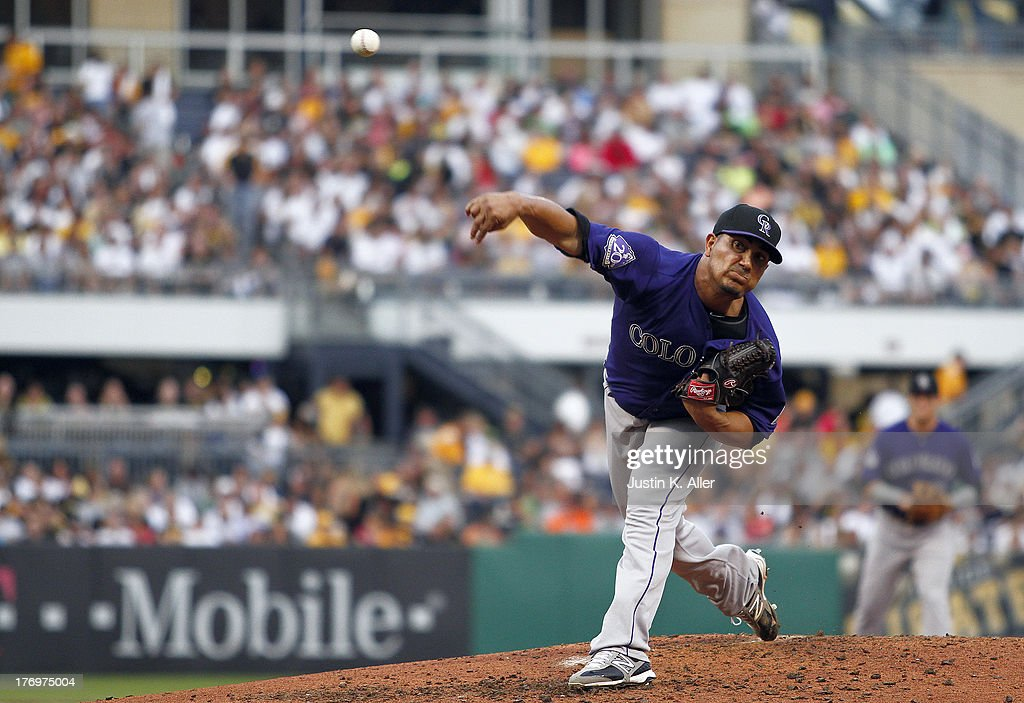 Jhoulys Chacin of the Colorado Rockies pitches against the Pittsburgh Pirates during the game on August 2 2013 at PNC Park in Pittsburgh Pennsylvania