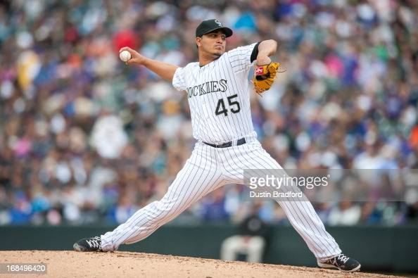 Jhoulys Chacin of the Colorado Rockies pitches against the Tampa Bay Rays during a game at Coors Field on May 5 2013 in Denver Colorado