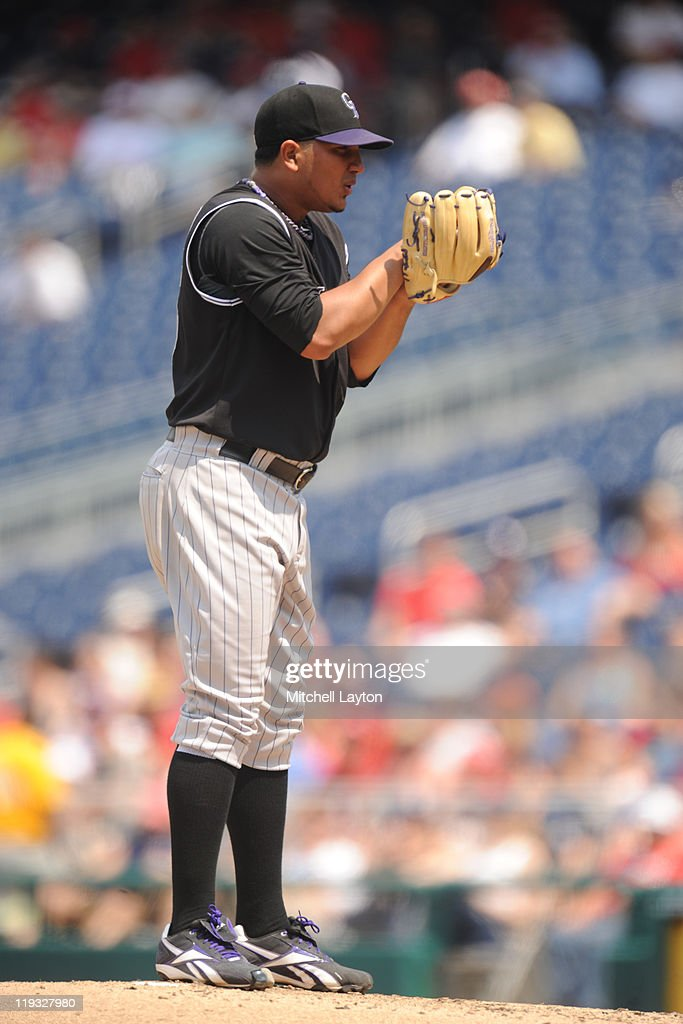 Jhoulys Chacin of the Colorado Rockies pitches during a baseball game against the Washington Nationals at Nationals Park on July 10 2011 in...