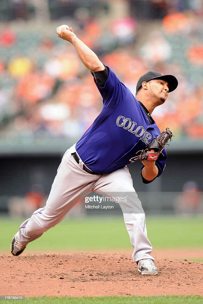 <a gi-track='captionPersonalityLinkClicked' href=/galleries/search?phrase=Jhoulys+Chacin&family=editorial&specificpeople=5734320 ng-click='$event.stopPropagation()'>Jhoulys Chacin</a> #45 of the Colorado Rockies pitches during a baseball game against the Baltimore Orioles on August 18, 2013 at Oriole Park at Camden Yards in Baltimore, Maryland.
