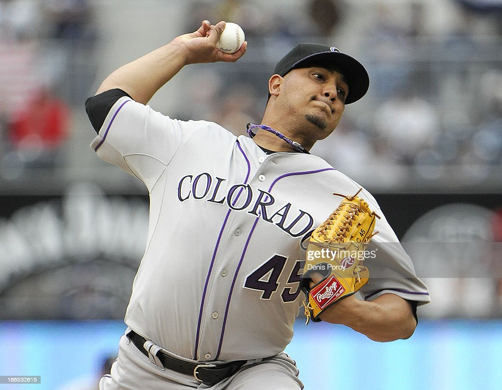 <a gi-track='captionPersonalityLinkClicked' href=/galleries/search?phrase=Jhoulys+Chacin&family=editorial&specificpeople=5734320 ng-click='$event.stopPropagation()'>Jhoulys Chacin</a> #45 of the Colorado Rockies pitches during the first inning of a baseball game against the San Diego Padres at Petco Park on April 13, 2013 in San Diego, California.