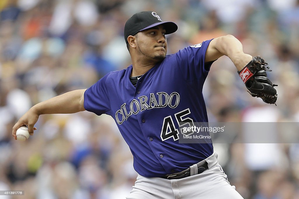 Jhoulys Chacin of the Colorado Rockies pitches during the first inning against the Milwaukee Brewers at Miller Park on June 28 2014 in Milwaukee...
