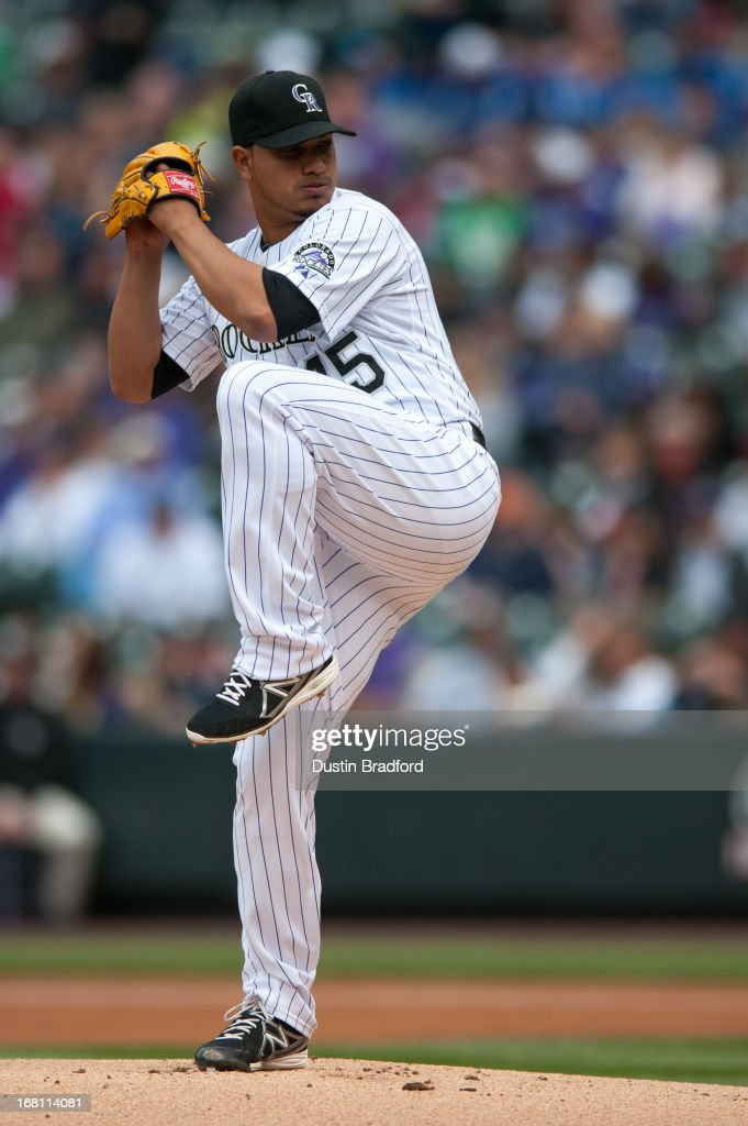 <a gi-track='captionPersonalityLinkClicked' href=/galleries/search?phrase=Jhoulys+Chacin&family=editorial&specificpeople=5734320 ng-click='$event.stopPropagation()'>Jhoulys Chacin</a> #45 of the Colorado Rockies pitches in the first inning of a game against the Tampa Bay Rays at Coors Field on May 5, 2013 in Denver, Colorado.
